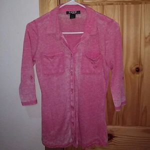 Pink button down shirt